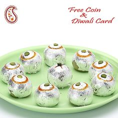 Stuffed Kajoo Laddoos with Free Laxmi Ganesh Coin
