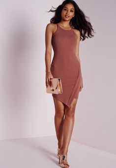 Crepe Asymmetric Hem Bodycon Dress Pink - Dresses - Bodycon Dresses - Missguided
