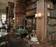 Probably because I think that every room should be a library room. (The library room at Cafe Pushkin, Moscow. Beautiful Library, Dream Library, Library Cafe, Library Room, Bar A Vin, Book Cafe, Cafe Restaurant, Restaurant Design, Restaurants