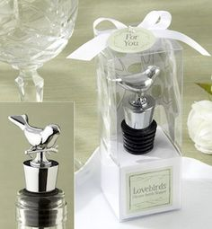 Lovebirds Chrome Bottle Stopper from Wedding Favors Unlimited