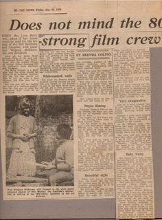 A local newspaper article on 'Swallows & Amazons' (1974) featuring Virginia McKenna talking to Iam Whittaker, who one two Oscars for set design later in his career together with a number of nominations for awards.