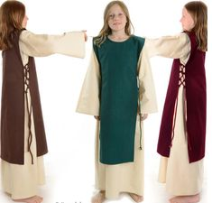 Medieval Dress offwhite and hanger red-green-brown for Kids Green And Brown, Red Green, Medieval Dress Pattern, Medieval Peasant, Mantel, Kids Outfits, Kimono Top, Cold Shoulder Dress, Coat