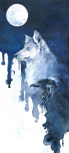 Well, raven is in the crow family. Wolf and Raven by Toradh I think this is funny, that you like wolves & I Crows (ravens) Raven And Wolf, Wolf And Moon, Raven Art, Amazing Art, Watercolor Art, Fantasy Art, Cool Art, Art Drawings, Art Photography