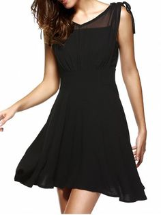 $19.55 Voile Spliced Irregular Hem Mini Black Dress For Women