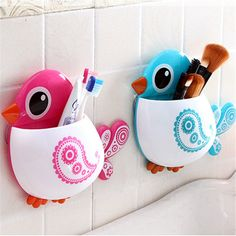 Trendy Creative Bird Suction Cup Toothbrush or Makeup Brush, etc Holder - 4 Colors