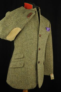 "Vtg Harris Tweed Herringbone Country Tailored Hacking Jacket 44"" #527 PRISTINE 