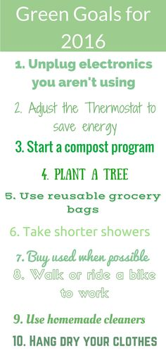 I love these 10 green goals for 2016. They seem so easy to make but only become a new habit by consistently doing them. I am determined to make my home more green and environmentally friendly this year.