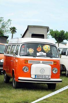 vw orange camper bus