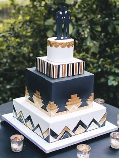 No matter if you prefer elegant, simple, or unique wedding cake designs you will be blown away by our list of amazing wedding cakes. Fancy Wedding Cakes, Wedding Cake Rustic, Square Cakes, Beautiful Wedding Cakes, Gorgeous Cakes, Wedding Cake Designs, 1920s Wedding, Fondant Cake Designs, Rustic Wedding Cakes