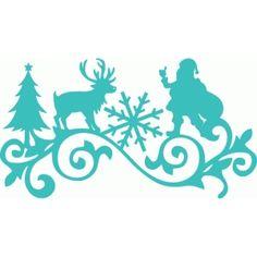 Silhouette Design Store - View Design #70343: santa reindeer tree snowflake flourish
