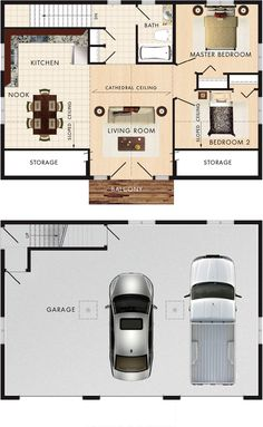 Whistler I Floor Plan - I love it. Only changes would be an entrance in the foyer to the outside (shop/garage is a walk-out) and switch the bathroom around so you'd enter from the living room not foyer, as well as an extra window on the stairs wall. (Where is the utility room and laundry?)