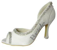 Bling Bride Heels Rhinestone Wedding High Heels Ivory Peep Toe Bridal Shoe Stiletto Open Toe all sizes 2 / 3.5 / 4.5 inch