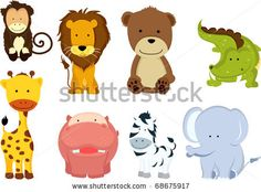 stock vector : A vector illustration of different wild animals cartoons