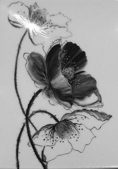 Plat à cake Coquelicots - Lotus Painting, China Painting, Kunst Tattoos, Body Art Tattoos, Flor Tattoo, Tattoo Schwarz, Muster Tattoos, Poppies Tattoo, Plant Drawing