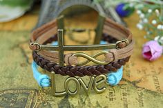 Bronze BraceletBrown & Blue Color Leather by BeautifulShow on Etsy, $5.99