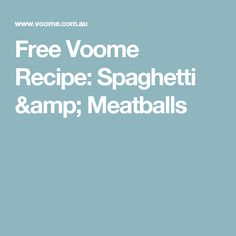 Who doesn't love Spaghetti & Meatballs? Our delicious low-cal recipe is perfect for those cold wintery nights paired with a hearty glass of red! Michelle Bridges 12wbt, Spaghetti And Meatballs, Amp, Recipes, Free, Ripped Recipes, Cooking Recipes