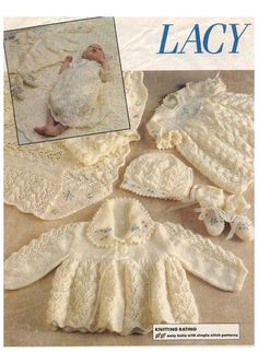 PDF Knitting Pattern - Lacy and Light Layette for Baby - Shawl, Matinee, Dress, Bonnet and Booties Vintage Knitting, Lace Knitting, Crochet Hooks, Crochet Baby, Knitted Baby, Baby Shawl, Baby Layette, Baby Patterns, Baby Knitting Patterns Free Newborn