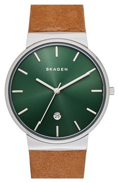 Skagen+'Ancher'+Round+Leather+Strap+Watch,+40mm+available+at+#Nordstrom