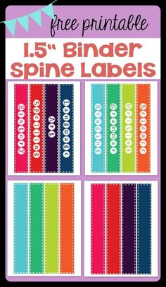 "FREE PRINTABLE 1.5"" Binder Spine Labels for basic school subjects AND blanks for you to customize 