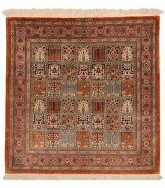 Ghom Panel DesignSquare Persian Rug 100% silk