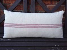 Grain Sack Lumbar Pillow Cover Red Center Stripe