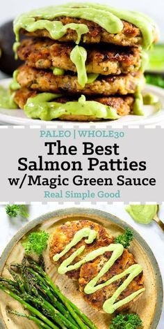 The best salmon patties with magic green sauce long pin for pinterest. Stack of patties and plated with asparagus.