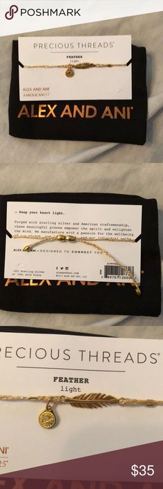 Alex and Ani precious threads feather bracelet Beautiful Alex and Ani precious threads feather bracelet .925 sterling silver with 14 karat gold plated. Brand new. Bracelet adjusts too many wrist sizes. Alex & Ani Jewelry Bracelets