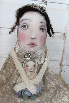 original textile mixed media fabric  fiber ooak art doll ..princess betty with baby doll... k d milstein fadedwest