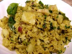 Poha is uncooked basmati rice that has been rolled thin in the same way that rolled oats are made. It cooks quickly and does not need water, other than what is absorbed in rinsing.