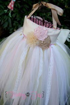 Rose Trio Flower Girl Tutu Dress Wide Ribbon by FrostingShop, $75.00