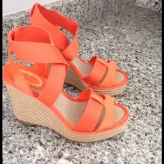 Elie Tahari wedge sandals- WORN once Wedge platform sandals with jute heel and leather soles. Orange satin fabric and orange stretch fabric- super comfortable strappy shoe for Summer- just too small for me! Only worn once so excellent condition!! Elie Tahari Shoes Sandals