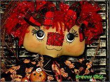 Raggedy Ann, Handmade Rag Doll, Primitive, OOAK, Christmas, Holiday, Gingerbread