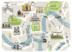 Bristol city centre illustrated map - by Naomi Skinner