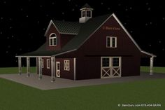 Barn Plans -2 Stall Horse Barn - With Living Quarters | Dream Home ...