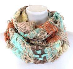 Retro lattice weve mint green, brown, orange infinity scarf