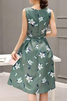 Sweet Style Round Neck Sleeveless Floral Print Zippered Women's Dress