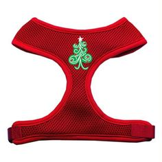Swirly Christmas Tree Screen Print Soft Mesh Harness Red Large