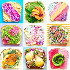Unicorn Toasts and Mermaid Toasts of the food designer Adeline Waugh, who creates tasty and ultra-colorful toasts! Here, no industrial food coloring, only natural and organic foods like fruits, hummus or almond milk cream cheese, colored with beetroot, algae or blueberries.