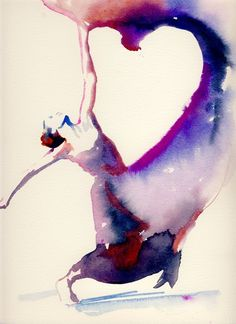 Dancer by Cate Parr #watercolor #illustration beautiful use of medium and pos/neg space to recreate movement of dance. like the vibrant colors that enhance the energy vibrating from the dancer.
