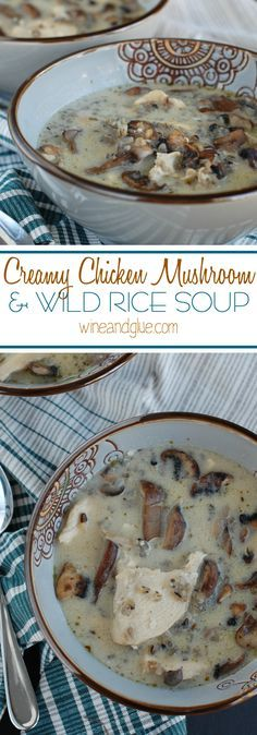 Creamy Chicken Mushroom and Wild Rice Soup | An earthy and hearty soup perfect for fall and winter: