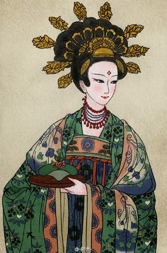 """Portraits of several of the female Buddhist donors depicted in the famous Dunhuang Murals from the Mogao Caves of China, by Chinese artist -阿舍-. The women are wearing traditional Chinese hanfu,. Chinese Design, Chinese Art, Antique Illustration, Historical Costume, Traditional Chinese, Chinese Painting, Hanfu, Asian Art, Concept Art"
