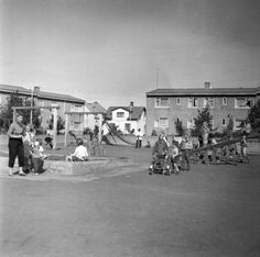 Playground by Hringbraut, Reykjavík, around 1956 The Old Days, New Theme, Once Upon A Time, Old Photos, Playground, Beautiful Places, Old Things, Street View, Explore