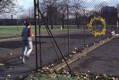 A 1985 photograph of a leaf cirlce on a chain link fence by Goldsworthy.  This goes along with what I've said previously about my favorite type of art, which is art that is created in an unexpected place by an unknown person for pure motives.  I appreciate artists who simply love to create art just because they can, not because there's anything in it for them.  Goldsworthy found a way to create temporary art, then capture it and eventually get paid for it.