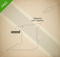 Free vector map of Trinidad and Tobago outline - Printable map and editable vector map