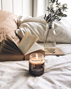 Butterbeer Candle, a Book, & a Relaxing Atmosphere