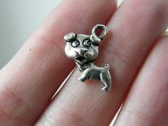 BULK 50 Dog charms antique silver tone D29