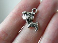 BULK 50 Dog charms antique silver tone D29