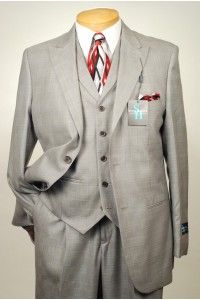 2ca72972831 STEVE HARVEY - A34 2 Button 3 Piece Light Gray Check Men s Suit