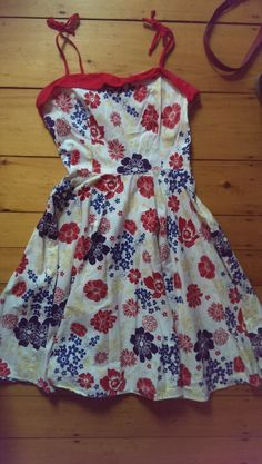 PinUpGirlClothing dress with straps that tie at the shoulder. Great cotton dress, size L-XL SWAPPED--NO LONGER AVAILABLE