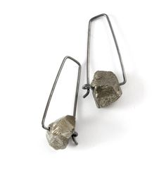 raw cut pyrite earrings with hook